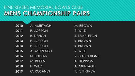 Mens Championship Pairs 2010-2019