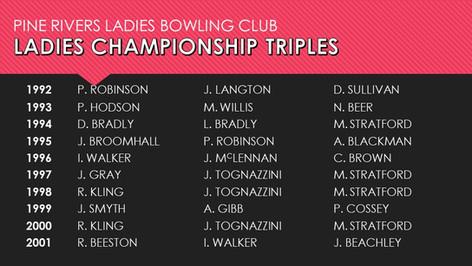 Ladies Championship Triples 1992-2001