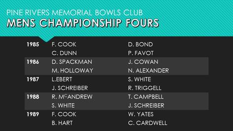 Mens Championship Fours 1985-1989