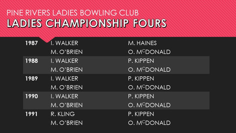 Ladies Championship Fours 1987-1991