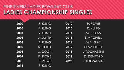 Ladies Championship Singles 2002-2020