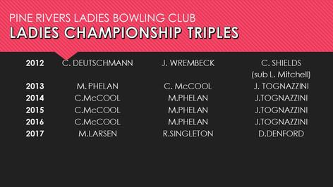 Ladies Championship Triples 2012-2017