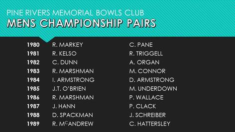 Mens Championship Pairs 1980-1989