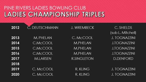 Ladies Championship Triples 2012-2020