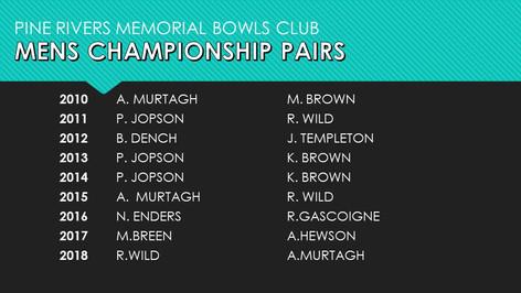 Mens Championship Pairs 2010-2018