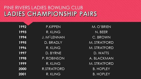 Ladies Championship Pairs 1992-2001