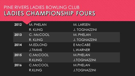 Ladies Championship Fours 2012-2016
