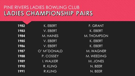 Ladies Championship Pairs 1982-1991