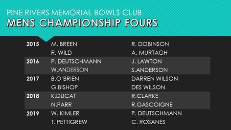 Mens Championship Fours 2015-2019