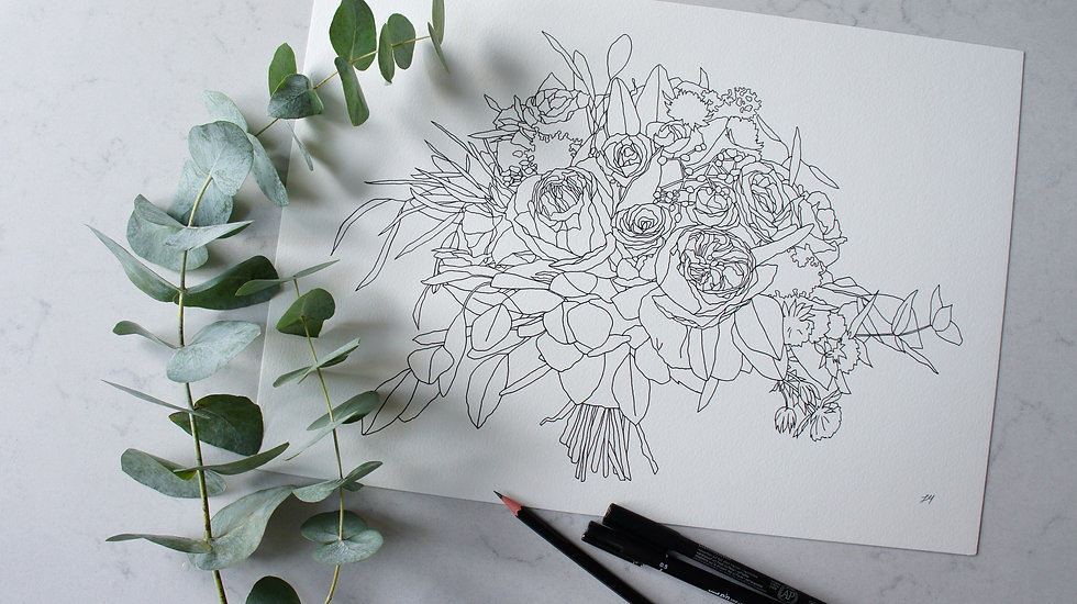 Bouquet line drawing