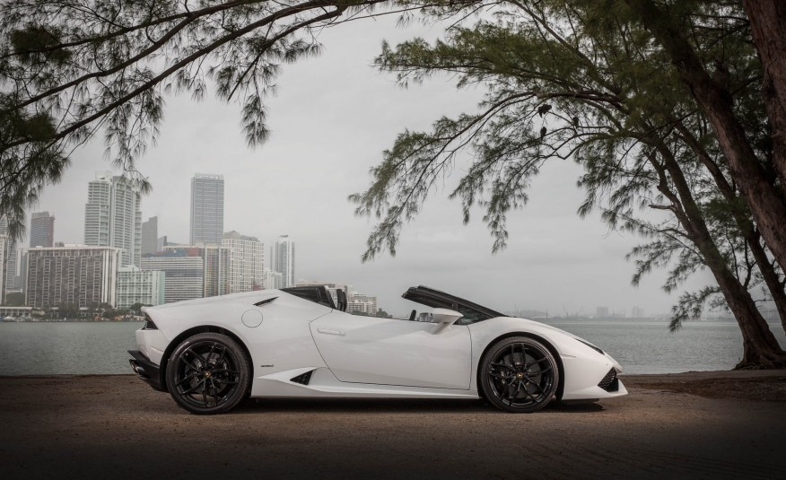 Lamborghini Huracan LP610 Spyder - side - W exotic car rentals
