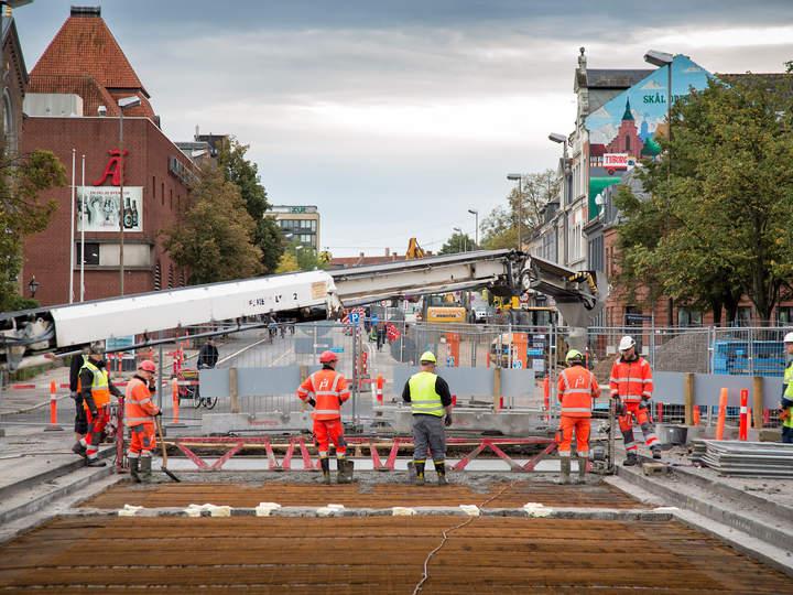 Byggeri af letbanen i Odense
