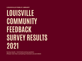 Community Survey Results 2021 are in..