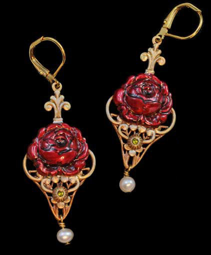 Assorted Pieces: Red Rose Earrings
