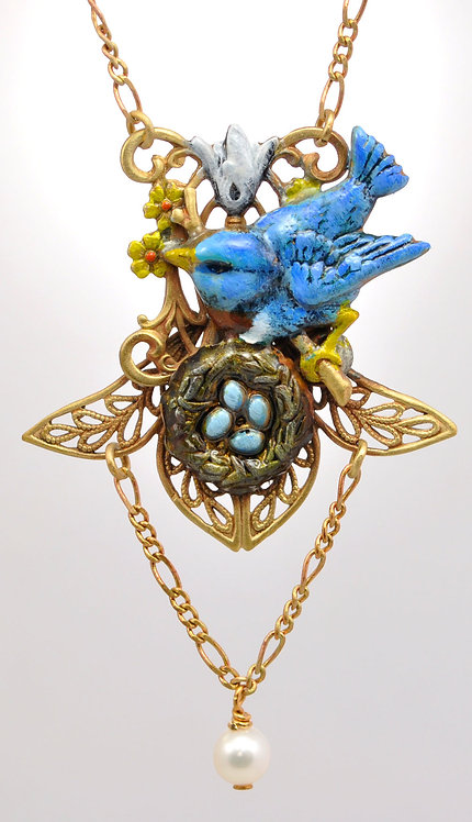 Wholesale: Birds & Bees Bluebird Necklace