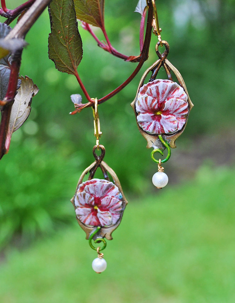 Pink Pansy Earrings