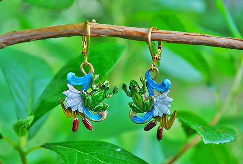 Wholesale: Lily Pond Frog Pond Earrings