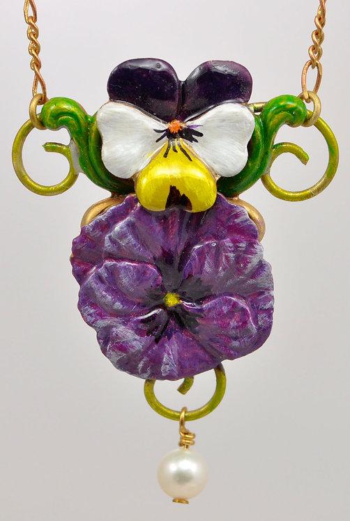 Wholesale: Garden Purple Pansy Necklace