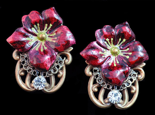 Hellebore Clip Earrings