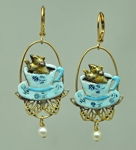 Mouse in a Teacup Earrings