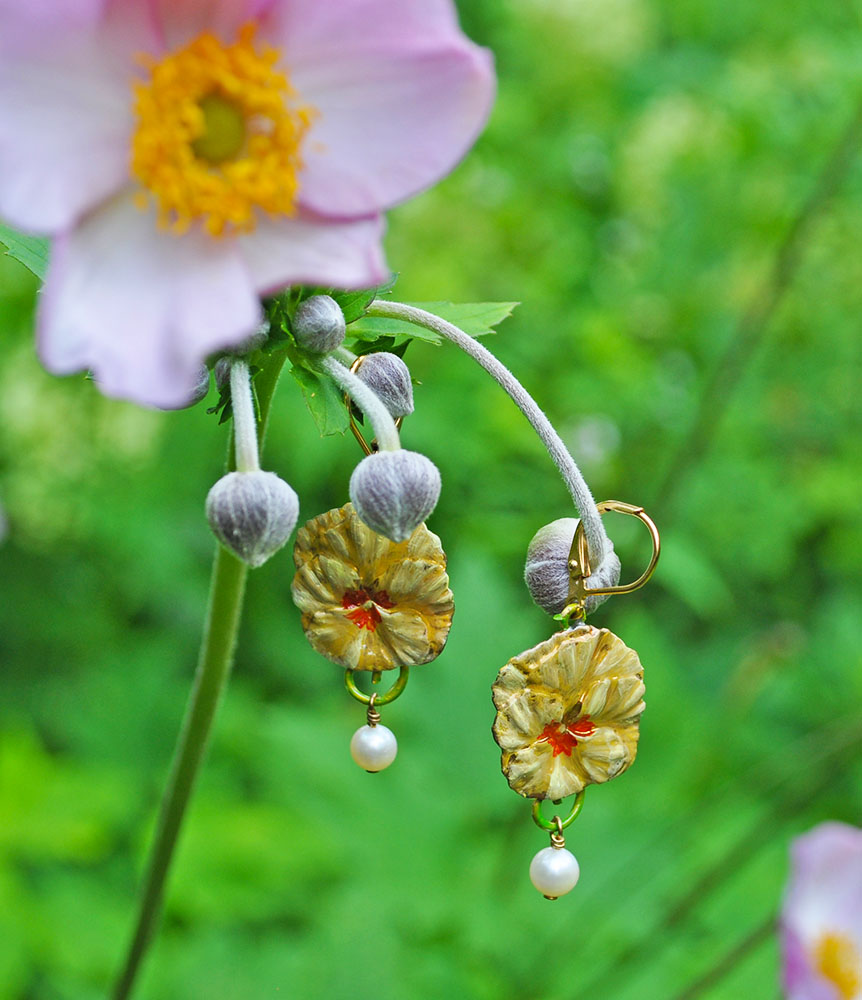 Apricot Pansy Earrings