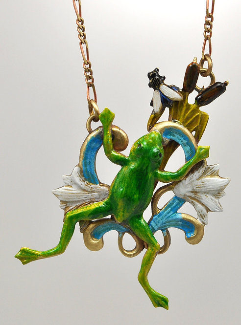 Water Lily Frog Necklace