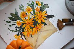 Autumn Flowers Watercolor Angelina Dederer