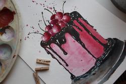 Cherry Cake Watercolor Angelina Dederer