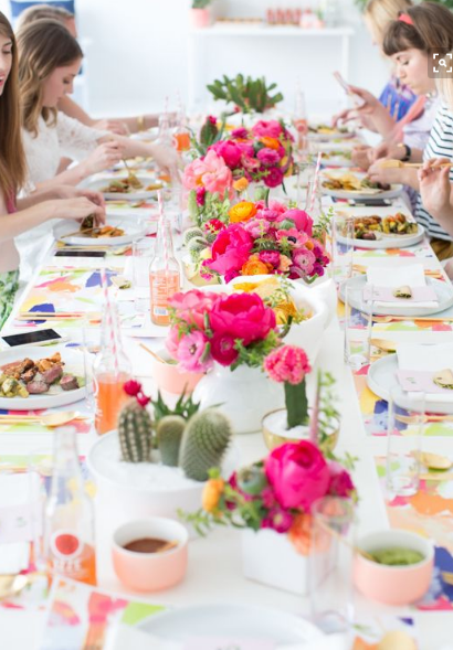 Brunch Decoration Flowers on Table