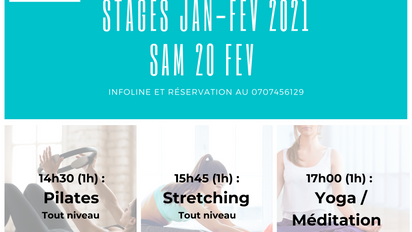 SAM 20 FEV. Pilates, Stretching, Yoga et Méditation .