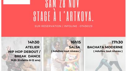 Sam 28 Nov. Stages Hip hop, Salsa, Bachata.
