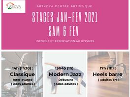 SAM 6 FEV 2021, STAGE DE DANSES.