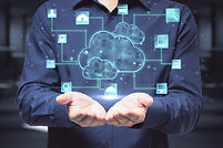 Cloud service technologies_ man with opened hands and digital screen with cloud and life s
