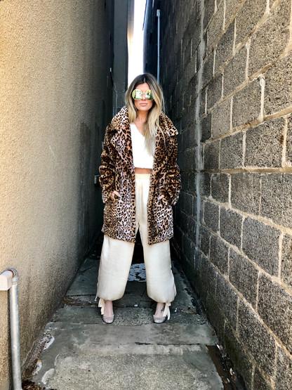 Leopard jacket $96; Cropped sweater $48