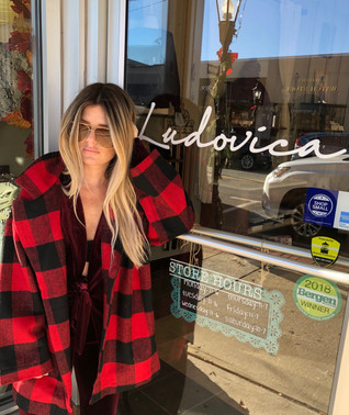 Red & black plaid coat $52