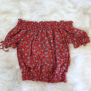 Red and Blue Floral Top