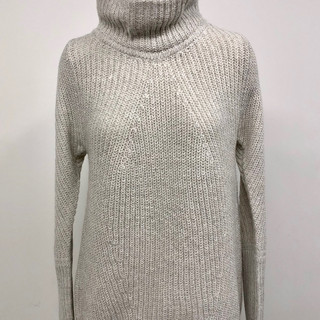 Gray long turtleneck sweater