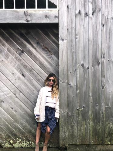 Chenille cardigan $66; Striped sweater $46