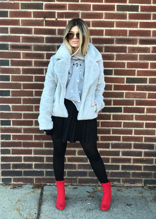 Suede pleated skirt $58; Fly knit booties $70