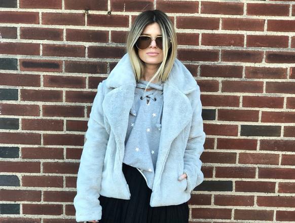 Faux fur jacket $88; Star sweatshirt $72