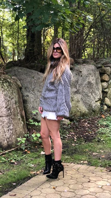 Distressed denim skirt $64