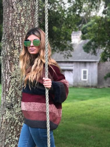 Colorblock striped sweater $62