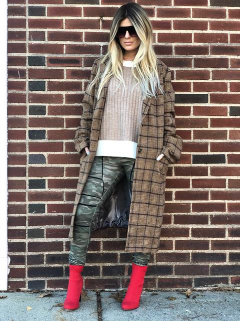 Contrast sweater $58; Camo leggings $62