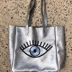 Handmade evil eye tote $220
