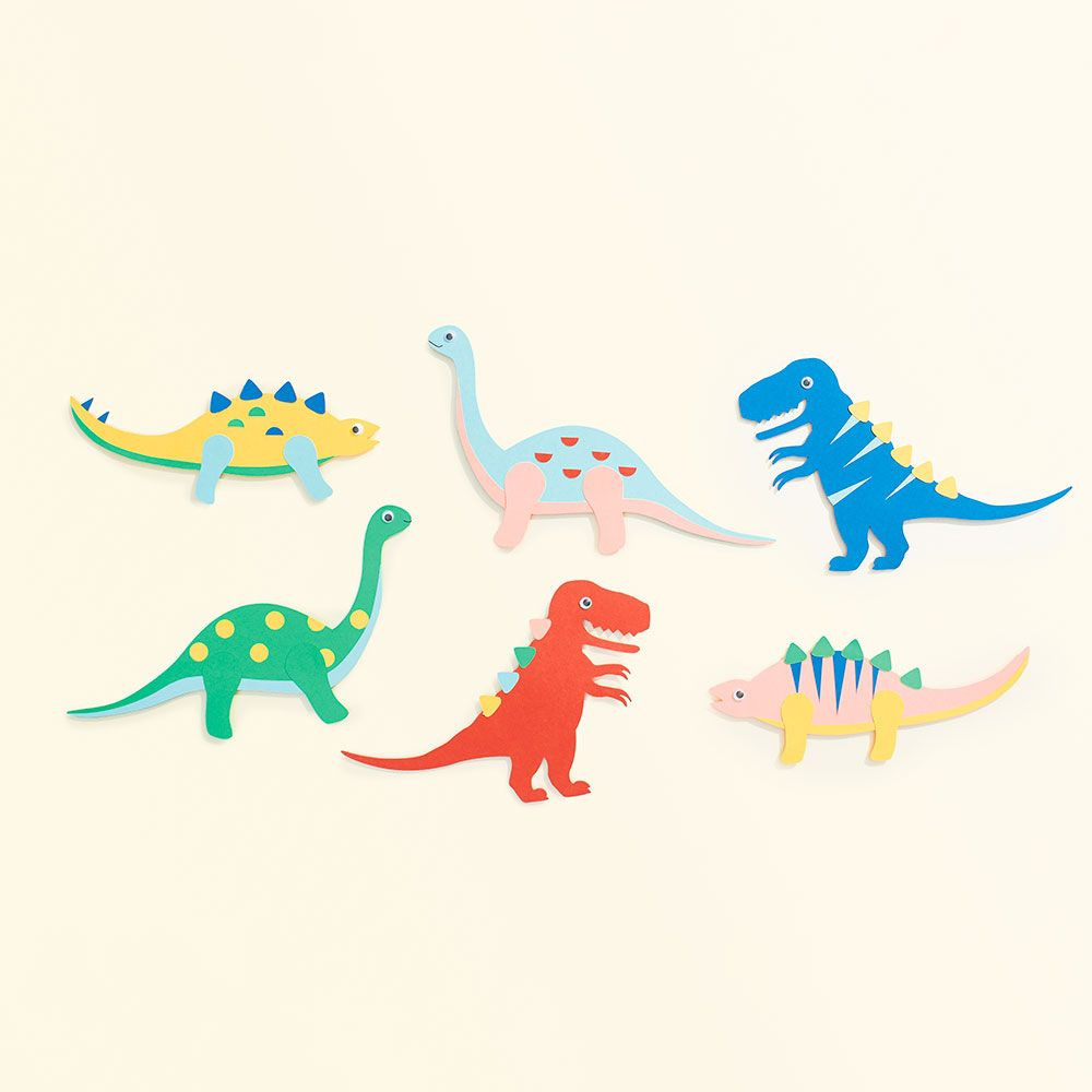 Stock up on rainy day crafts, like these colorful dinosaurs!