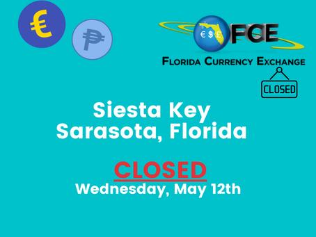 Siesta Key (Sarasota, FL.) CLOSED MAY 12th