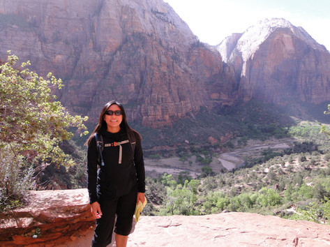 hiking up to Angels Landing