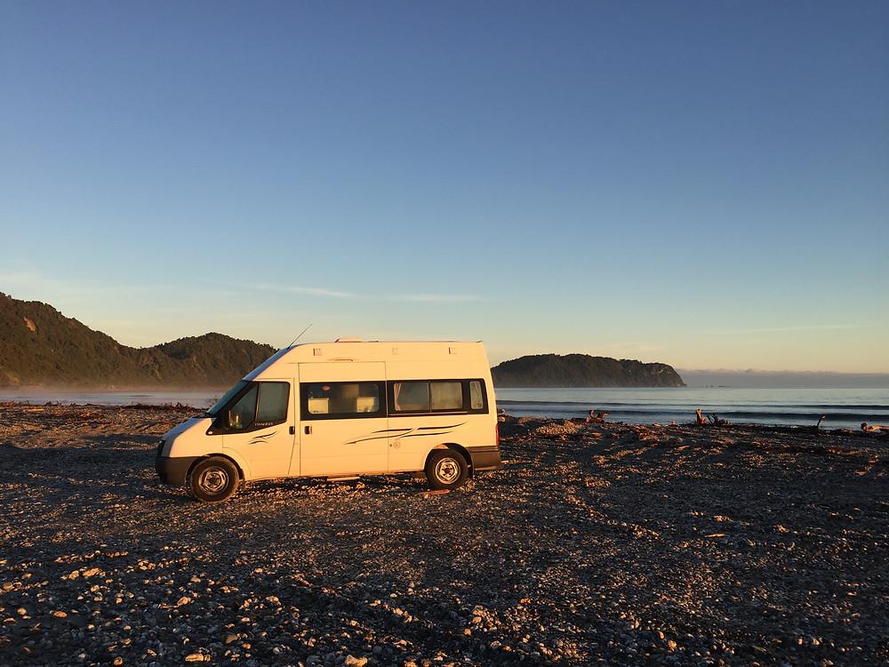 Beach camping at Jackson Bay