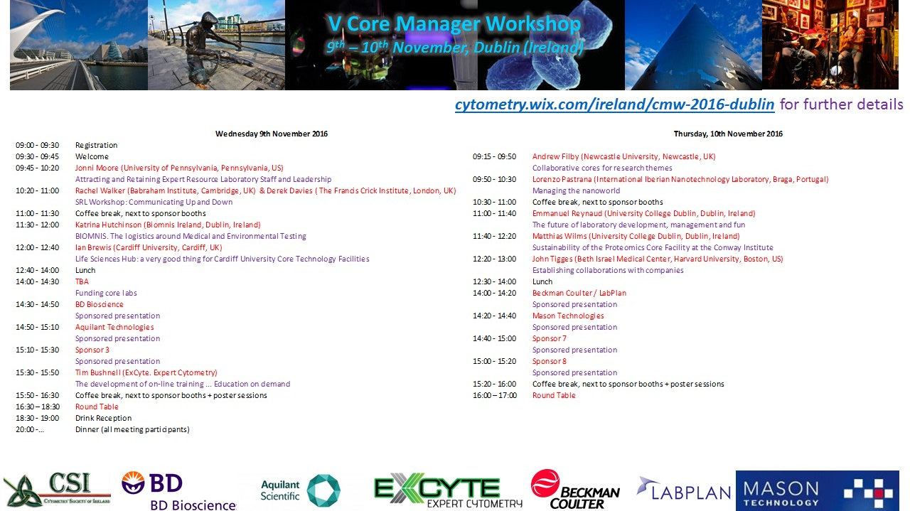 5th European Core Managers Workshop @ Trinity Biomedical Sciences Institute  | Dublin | County Dublin | Ireland