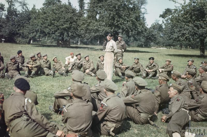 General Sir Bernard Montgomery addressing the men of 50th Division before decorating them for gallantry during the Normandy landings. (Source: © IWM (TR 2012))